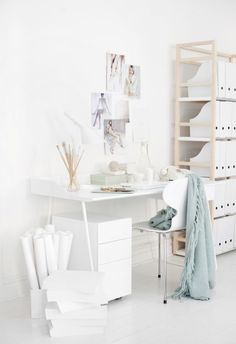 my scandinavian home: home office- white, light wood + mint touches Home Office Space, Office Workspace, Home Office Design, Home Office Decor, House Design, Home Decor, Office Ideas, Office Spaces, Office Furniture