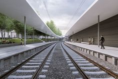 Visualizations by ZAN studio for an architectural competition designed by an architectural studio monom works. Visualizations of a railway station in Prague connecting the city and the airport. Train Station, Prague, Railroad Tracks, Competition, Stairs, Studio, Architecture, City, Design