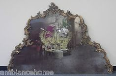 Wonderfully Carved Antiqued Mirror Headboard with Gold Weathered Crown Detail