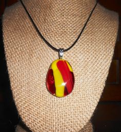 Fused Art Glass Pendant in Stunning Ruby Red and Lime Green - Your Choice of Cord Length