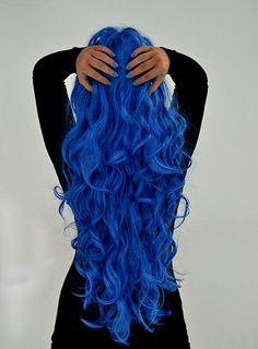 Blue Hair Curled