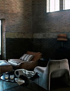 ♂ masculine interior design with rustic brick wall
