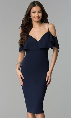 c8f74a5c49f Cold-Shoulder Navy Blue Short Wedding Guest Dress