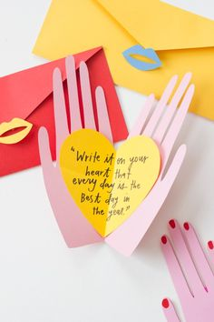 Hand holding hearts pop up Valentines – The House That Lars Built Hands Valentine's Day card: write it on your heart that everyday is the best day in the year Mothers Day Crafts, Valentine Day Crafts, Be My Valentine, Crafts For Kids, Hands Holding Heart, Hand Holding, Diy Birthday, Birthday Cards, Saint Valentin Diy