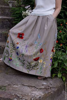 long skirt with floral embroidery by Olga Streltsova Embroidery On Clothes, Embroidered Clothes, Embroidery Fashion, Embroidery Dress, Ribbon Embroidery, Hand Embroidery Stitches, Crewel Embroidery, Hand Embroidery Designs, Floral Embroidery