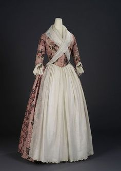 Title: Overdress of a woman's robe à l'anglaise. English dress of Indian export chintz Painted and resist-dyed cotton tabby Centimetres: (width) circa 1780 Area of Origin: England. 18th Century Dress, 18th Century Costume, 18th Century Clothing, 18th Century Fashion, Antique Clothing, Historical Clothing, Historical Dress, Vintage Dresses, Vintage Outfits