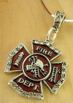 """Love A Firefighter"" Silver Necklace 