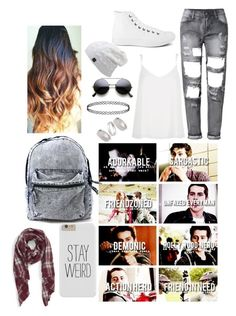 """Teen Wolf- School Day With Stiles Stilinski"" by nbrmacdonald ❤ liked on Polyvore featuring River Island, Converse, Sole Society and Topshop"