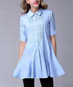 Look at this #zulilyfind! Blue Pin Tuck Tunic - Plus Too #zulilyfinds