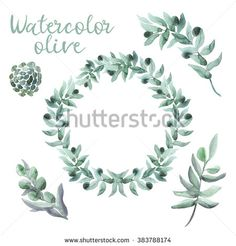 Watercolor olive wreath and twigs with berries - stock photo