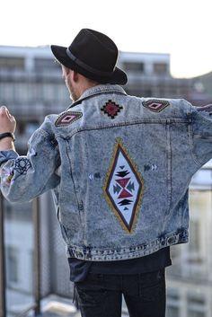 Festival Men Style, Jeans Jacket, Asos Patches 2017