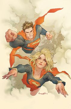 Superman and Supergirl by Barnaby Bagenda. I don't think I've ever seen an illustration of them flying together.