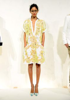 Bright Yellow Dress at the J.Crew Spring 2015 NYFW Presentation: (http://racked.com/archives/2014/09/09/jcrew-womens-nyfw-spring-2015.php)