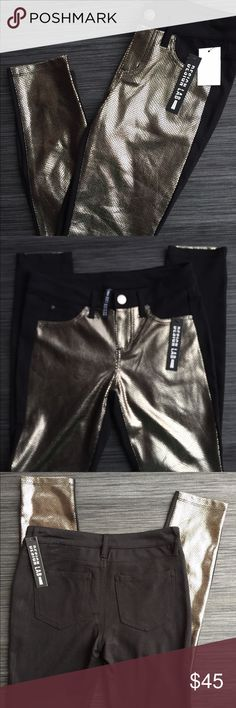 "NEW with tags LORD &TAYLOR SEQUIN LOOK Skinny Pant NEW with tags LORD & TAYLOR SEQUIN LOOK STRETCH PANTS. GORGEOUS! Black w/ gold 9""inseam size 26 Lord & Taylor Pants Skinny"