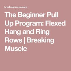 The Beginner Pull Up Program: Flexed Hang and Ring Rows | Breaking Muscle
