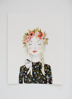 Girl with Flower Crown  Fashion Illustration  by ShannonKirsten