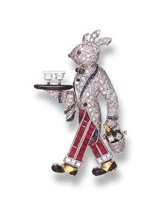 A GEM-SET RABBIT BROOCH, BY RAYMOND C. YARD   Designed as a pavé-set diamond rabbit waiter, wearing a similarly-set diamond jacket and calibré-cut ruby pants, with black enamel and calibré-cut sapphire and emerald trim, holding a black enamel tray with trapeze-cut diamond glasses and an articulated single-cut diamond ice bucket, with a green enamel champagne bottle, mounted in platinum and gold, in a Raymond C. Yard blue leather case  Signed Yard for Raymond C. Yard