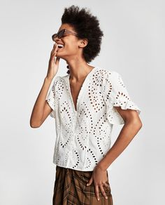 DIE-CUT EMBROIDERED BLOUSE-NEW IN-WOMAN | ZARA United States