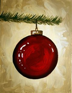 big red ornament on Christmas Tree limb