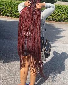 Black Box Braids, Colored Box Braids, Long Box Braids, Black Girl Braids, Braids With Weave, Braids For Black Women, Girls Braids, Braided Hairstyles Updo, Feed In Braids Hairstyles