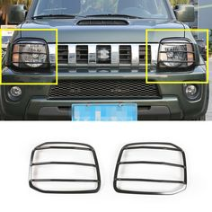 For Suzuki Jimny Black/Red Metal Car Front Head Light Frame Trim Cover 2007-2015 2pcs