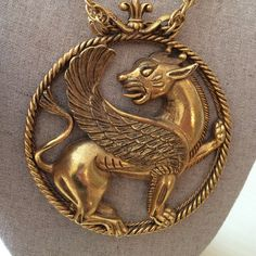"Vintage Florenza Huge Gold Griffin Pendant This impressive vintage gold toned Florenza  statement necklace features a huge griffin medallion that measures 3 1/2"" in diameter. The substantial chain measures 20"". In excellent vintage condition. Florenza Jewelry Necklaces"