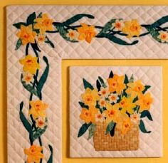 """Applique quilt pattern #506-Daffodil Basket by Curiosity  12"""" applique quilt block with repeating border"""