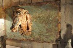 french 19th century cast iron horse head