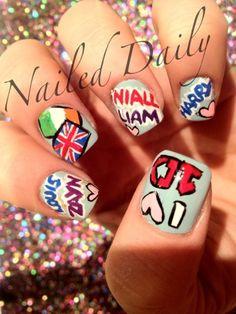 Nailed Daily: Day One Direction One Direction Nails, One Direction Drawings, One Direction Humor, Different Nail Designs, Cool Nail Designs, Hair And Nails, My Nails, 5sos Nails, Cute Nails