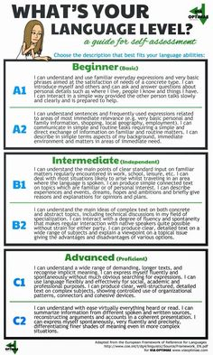 What's your language level? A guide for self-assessment, based on the European Framework of Reference for Languages, by Via Optimae, the fun way to learn Italian http://www.viaoptimae.com/2014/10/how-to-teach-yourself-italian-step-02.html