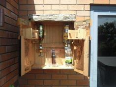 Inside the outdoor wall bar Wall Bar, Outdoor Walls, Liquor Cabinet, Nativity, Projects, Furniture, Home Decor, Log Projects, Blue Prints