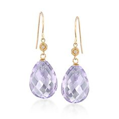 Amethyst jewelry varies in color from deep violet to lilac! These 15.00 ct. t.w. drop earrings with diamond accents feature pear-shaped lilac amethysts , Item no. 848127