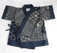 Navy Japanese Print Cotton Jinbei Set, Kimono, Yukata, Baby Boy, Newborn Gift…