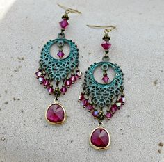 Silk Road - Teal Patina and Ruby Fuschia Long Bohemian Chandelier Earrings - Jewel, Swarovski Crystal, Dangle