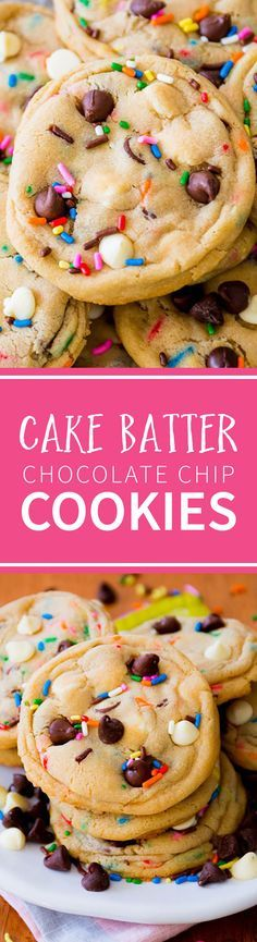 Delicious sprinkle chocolate chip cookies! Easy, soft, and chewy cake batter chocolate chip cookies recipe on sallysbakingaddiction.com