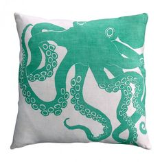 Turquoise Octopus Pillow