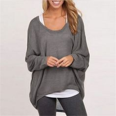 Casual Long Sleeve Loose Tunic Tops Shirt //Price: $14.74 & FREE Shipping //     #discount