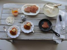 Dollhouse miniature making Valentine pancakes