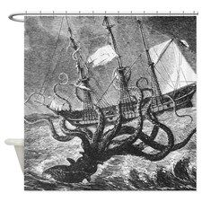 Unleash The Kraken Shower Curtain For Fabric Curtains Vintage Bathroom Renos