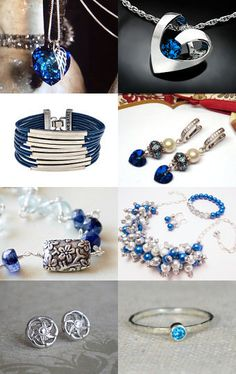 ~ Silver and Blue Jewelry ~ by Bubblegum Graffiti on Etsy--Pinned with TreasuryPin.com