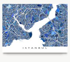 Istanbul Map Print Istanbul Art Istanbul Turkey by MapsAsArt