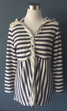CUBISM Soft Knit Hooded Cardigan Sweater Jacket Tunic Top MEDIUM Lace Striped M  | eBay