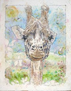 'Head of Giraffa camelopardalis' Watercolour Mijello_Mission Gold Class and Ink-pen on Saunders Waterford by St Cuthberts Mill, 38 x 48 cm St Cuthbert, Gold Class, Gold Watercolor, Petra, Watercolors, Giraffe, Moose Art, My Arts, Ink
