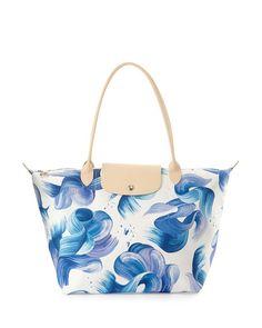 Longchamp Splash Large Shoulder Tote Bag, Cornflower