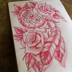 Dream catcher and roses #tattoo #dreamcatcher #roses #sketch #drawing #design #pencil #doodle #woodfarm #illustration