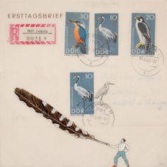 Kenna Moser. mail art, bird love