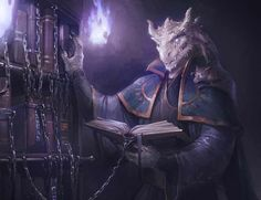 m Dragonborn Wizard Robes Magic Book Library torch night male Rhogar Grrrmmballhyst by Alteya med Fantasy Races, High Fantasy, Fantasy Rpg, Fantasy Artwork, Dungeons And Dragons Characters, Dnd Characters, Fantasy Characters, Fantasy Character Design, Character Art