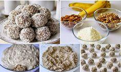Potrebno:      - 2 srednje banane,   - 200 g. mljevenih oraha   - 200 g, mljevenih badema,   - sok od pola limuna, važno,   - kokos za ...