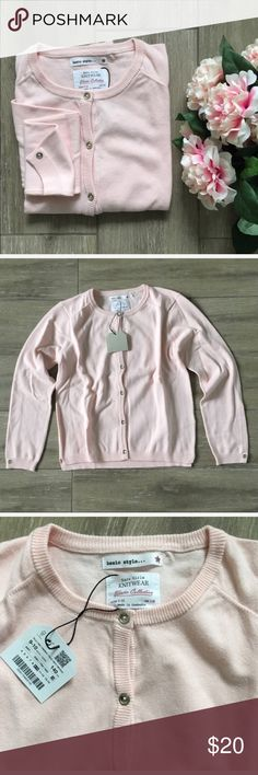 GIRLS Zara Cardigan Pink This sweet, pastel pink cardigan is a soft knit with pretty gold buttons to close and to decorate the wrists. NWT.  Bundle for best pricing! Size 9-10✨ Zara Shirts & Tops Sweaters