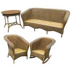 1stdibs | Four-Piece Art Deco Wicker Set
